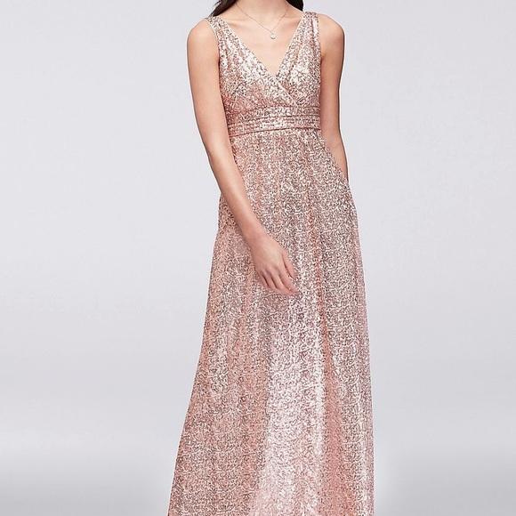 David's Bridal Dresses & Skirts - David's Bridal Rose Gold Sequin Bridesmaid Dress